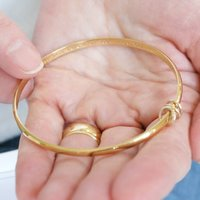 18ct Yellow Gold Vermeil Personalised Bangle, Gold