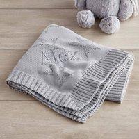 Personalised Grey Star Jacquard Blanket