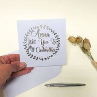 Personalised Silver Garland Be My Godmother Card