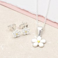 Girls Sterling Silver And Enamel Daisy Necklace Set, Silver