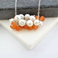 Carnelian And Pearl Cluster Silver Necklace, Silver