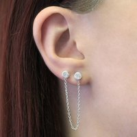 Party Silver White Topaz Chain Earrings, Silver