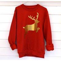 Glitter Reindeer Christmas Jumper, Red/Gold/Glitter