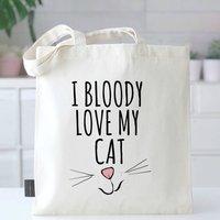 Love My Cat Tote Bag, beige