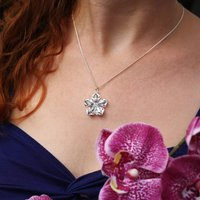 Blossom Charm Necklace, Silver/Blue