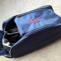 Personalised Sports Shoe Bag, Black/Navy Blue/Navy