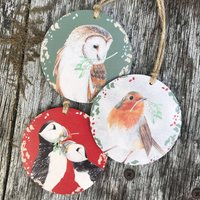 Three Bird And Mistletoe Christmas Bauble Decorations