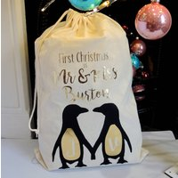 Personalised First Christmas Penguin Christmas Sack