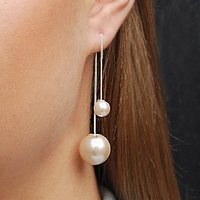 Silver White Pearl Threader Two Way Drop Earrings, Silver