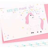 Unicorn Personalised Thank You Note Cards, Pink/Sky Blue/Blue