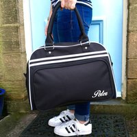 Retro Style Personalised Weekend Bag, Black/White/Royal Blue