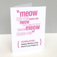 Personalised Pet Translation Mother's Day Card, Red/Blue/Charcoal