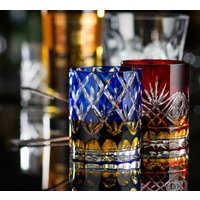 Set Of Two Vintage Inspired Coloured Cut Glass Tumblers