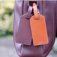 Personalised Initials Italian Leather Luggage Tag, Black/Brown/Tan