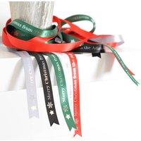 Personalised Christmas Ribbon, Green/Silver/White