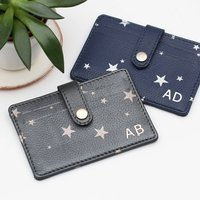 Personalised Star Leather Folding Card Holder
