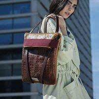 Leather Lover Backpack, Brown/Rose/Black