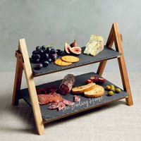 Personalised Two Tier Wooden Slate Serving Platter