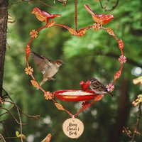 Red Heart Bird Feeder Personalised Anniversary Gift