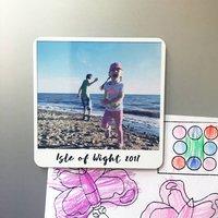 Personalised Photo Fridge Magnet, White/Yellow/Pale Pink
