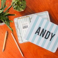 Personalised Chocolate And Notebook Stripe Tin