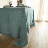 Stone Washed Taupe Linen Tablecloth, Taupe/Blue