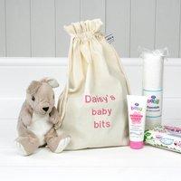 Personalised 'Little Baby Bits' Travel Sack, Black/Dark Brown/Brown