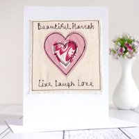 Personalised Embroidered Heart Card, Pink