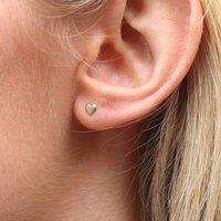 9ct Gold Heart Stud Earrings, Gold