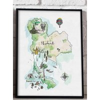 Illustrated Map Of Thailand Art Print