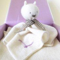 Personalised New Mum Cashmere Shrug And Bear Gift Set, Lavender/Cornflower Blue/Blue