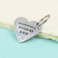 Anniversary Gift For Couples Heart Personalised Keyring