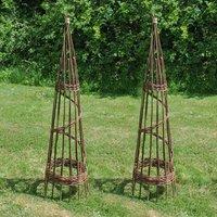 Two Handmade Spiral Willow Garden Obelisks