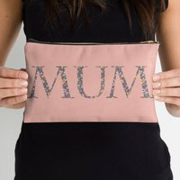 Mum Floral Make Up Bag In Blush And Grey