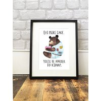 'Eat More Cake' Bear Print