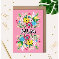 Mother's Day Card With Fun Floral Illustration
