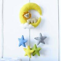 Felt Lion Moon And Stars Hanging Decoration