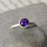 Amethyst Solitaire Stacking Ring Set In Sterling Silver, Silver