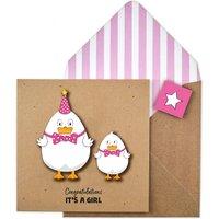 Handmade Congratulations Baby Girl Duck Card
