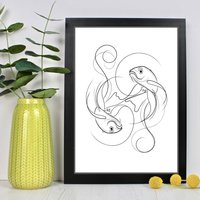 Koi Fish Yin Yang Line Drawing Print