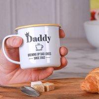 Personalised Brewing Up Dad Jokes Enamel Mug