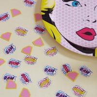 Pink Superhero Pop Art Party Table Confetti, Pink