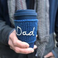 Personalised Hand Embroidered 'Dad' Travel Mug Cosy