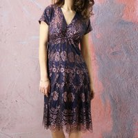 Lace Tea Dress In Pink With Contrast Deep Blue Lining