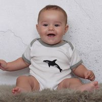 Embroidered Orca Baby Grow