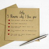 Five Reasons I Love You Valentine's Card
