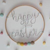 Happy Easter Wire Typography Hoop