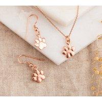 Rose Gold Paw Print Jewellery Set, Gold