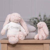 Personalised Blush Pink Bashful Bunny Soft Toy