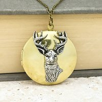 Stag Locket Necklace Pewter and Brass Pendant